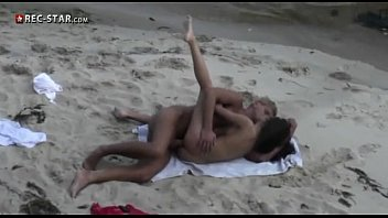 Horny Russian blonde is getting fucked on the beach